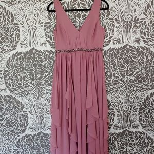 Muave waterfall ruffle maxi dress